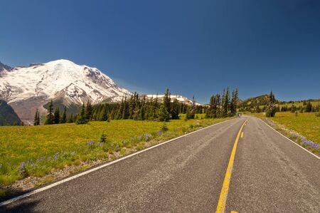 De weg die leidt naar Mt Rainier bij zonsopgang