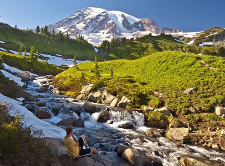 mt hood national forest: Beautiful View of myrtle falls Stock Photo