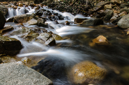 wnc: Waterfall and blue stream Stock Photo