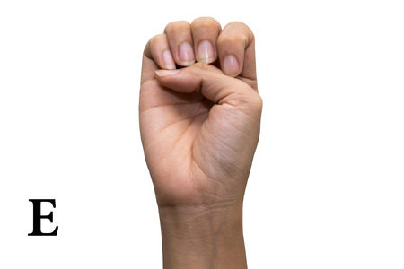 Finger Spelling the Alphabet in American Sign Language (ASL). The Letter E Stock Photo