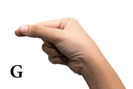 asl: Finger Spelling the Alphabet in American Sign Language (ASL). The Letter G Stock Photo