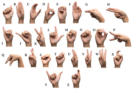 comunicacion no verbal: Dedo ortograf�a el alfabeto en lenguaje de signos estadounidense (ASL)