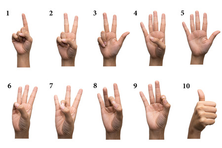 number 1: Numbers 1-10 in sign language Stock Photo