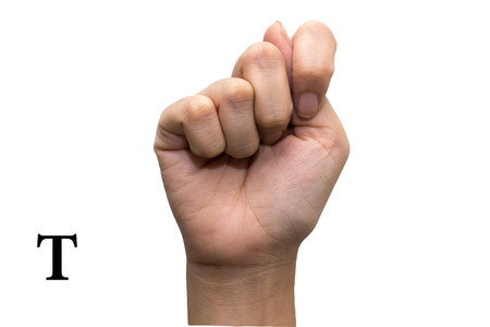 Finger Spelling the Alphabet in American Sign Language (ASL). The Letter T