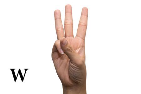 comunicacion no verbal: Dedo ortografía el alfabeto en lenguaje de señas americano (ASL). La letra W