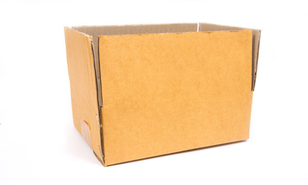 ship with gift: cardboard box isolated on white background,paper box Stock Photo