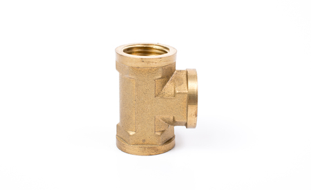 waterpipe: Brass water-pipe isolated on white background