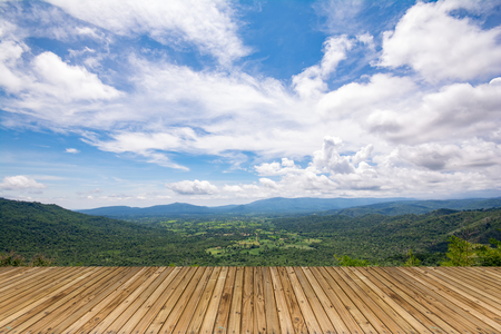 Standing on top of a mountain view with sun, mountain View Stock Photo