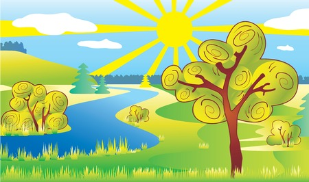 Ecology landscape. 矢量图像