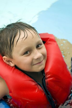 lifevest: Boy in a life-vest