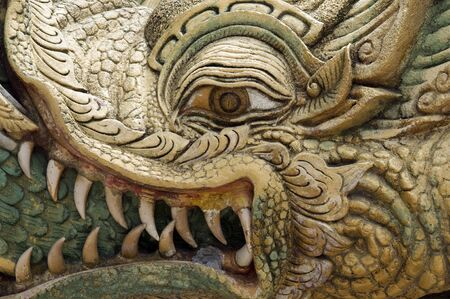 dragon head: Dragon head. Sculpture in the thai monastery in Pattaya.