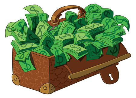 lucky bag: Old suitcase full of money. Vector illustration