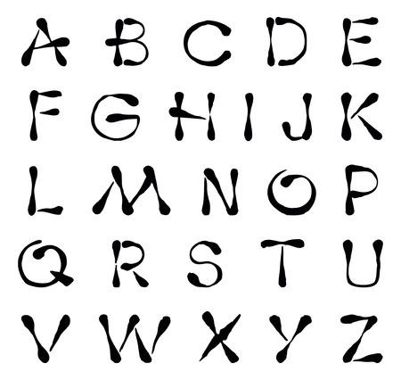 ideogram: Stylized english alphabet.  Black and white vector image.