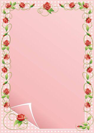 Vector illustratie frame van het beklimmen van bloemen en bladeren.