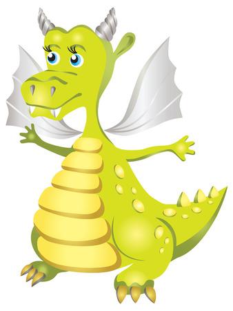 green dragon: Vector illustration in the children s cartoon style. Kind green dragon.