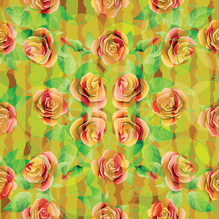 twining: Flowers and green leaves on a colorful background. Vector illustration. Illustration