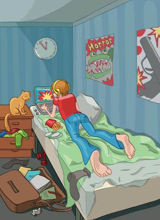 mania: Student in his room who spends his spare time at the computer.