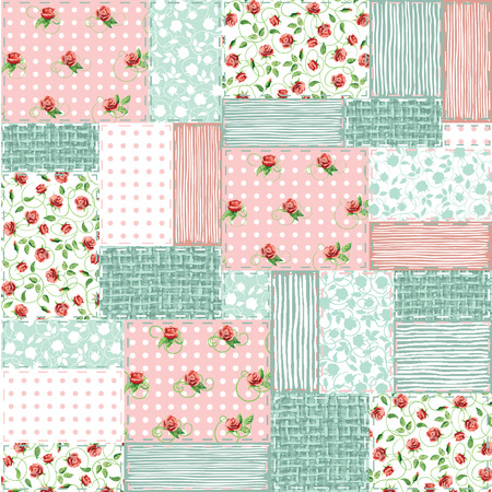 Imitation sewn pieces of fabric in a patchwork style shabby chic. Иллюстрация