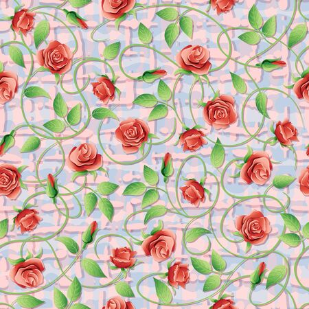 twining: Flowers and green leaves on a textured background. Illustration
