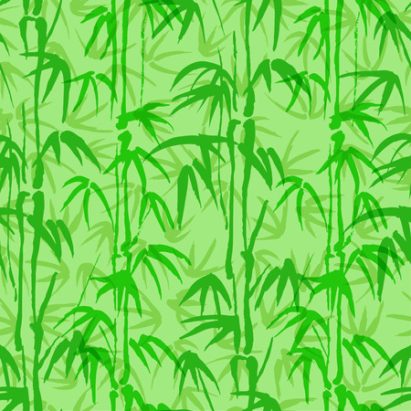 ongoing: Seamless vector background with bamboo of green color Illustration