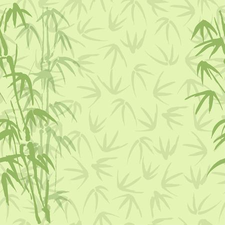 japones bambu: Fondo inconsútil del vector con el bambú del color verde
