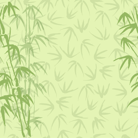 japanese art: Seamless vector background with bamboo of green color Illustration