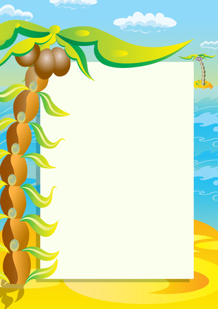 uninhabited: Sheet of paper on the background of a tropical landscape. Illustration