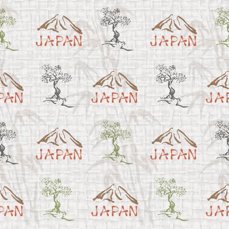 bonsai tree: Seamless vector background with Fuji and bonsai tree Illustration
