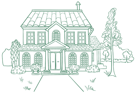 Vector illustration of modern house. Lines style.
