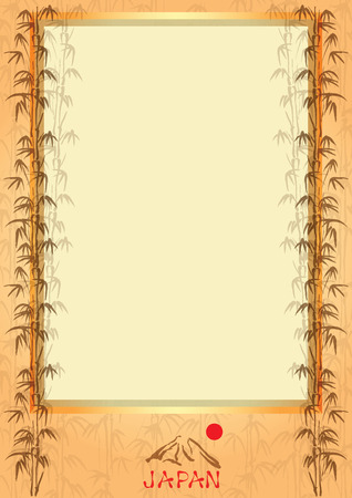 textile  texture: Vector frame with bamboo leaves and symbols of Japan. Illustration
