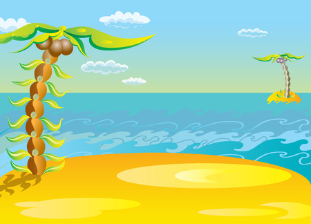 cartoon sun: Background of a tropical landscape. Island and palm-tree.