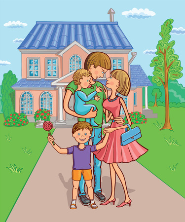 Happy family with a children in the background of your own home. Vector illustration. Illustration