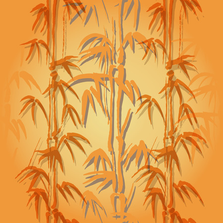 ongoing: Seamless vector background with bamboo of orange color