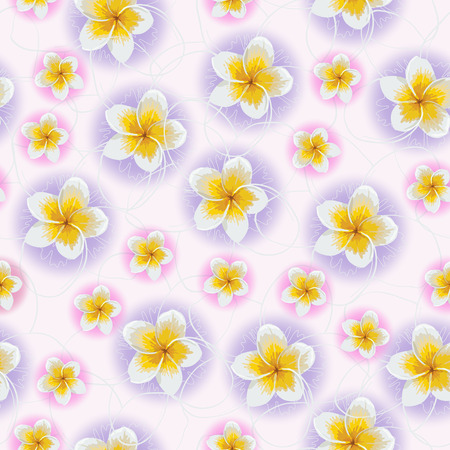 ongoing: Seamless background of tlowers frangipani. Vector illustration.