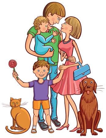usual: Vector illustration of happy family with two children