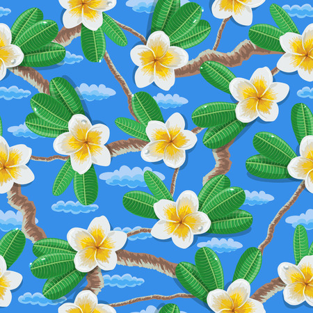 ongoing: Seamless background of tlowers frangipani in sky. Vector illustration.