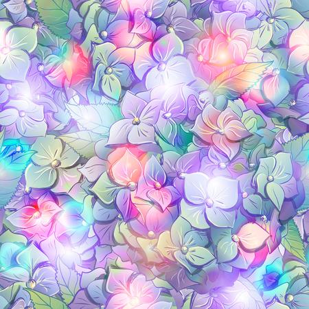 花とアジサイの葉の壁紙します。  ベクトルの図。  イラスト・ベクター素材
