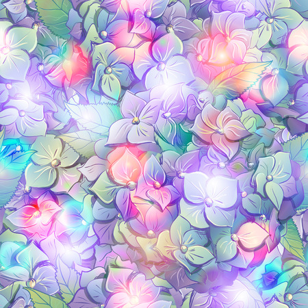 Wallpaper of flowers hydrangeas with leafs.   Vector illustration. Vector