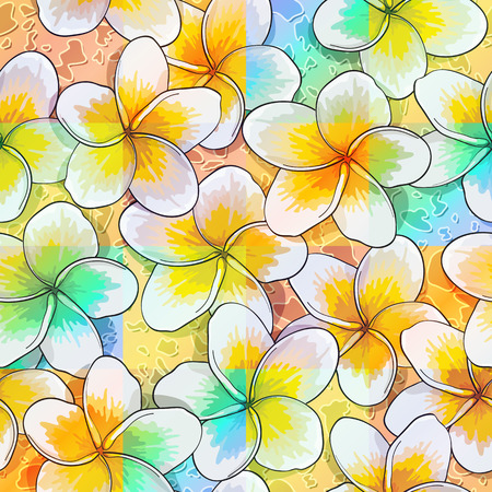 Seamless background of tlowers frangipani in water. Vector illustration. Illustration