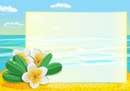 tropical flower: Tropical flower plumeria frangipani with lefts on the beach. Illustration