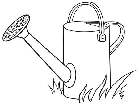庭の水まき缶。ベクトルの図。