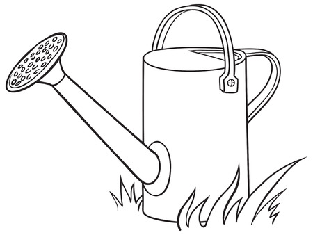 Watering can for the garden. Vector illustration.