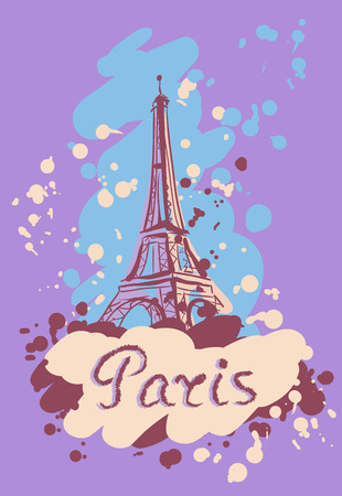 cymbol: Vector illustration on the theme of a trip to Paris with the inscription and splashes