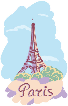 cymbol: Vector illustration on the theme of a trip to Paris with the inscription