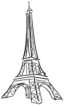 Vector illustration of Tower Eiffel. Black and white drawing.