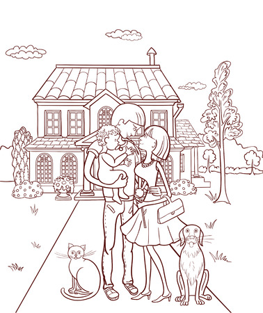 Happy family with a child in the background of your own home Vector illustration.
