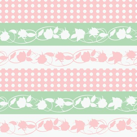 twining: Flowers and leaves on a stripes background.