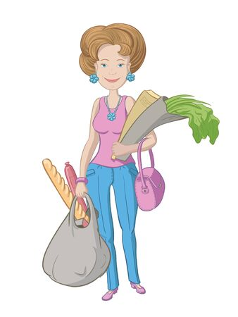 peasant woman: Vector drawing women with shopping products in the hands of