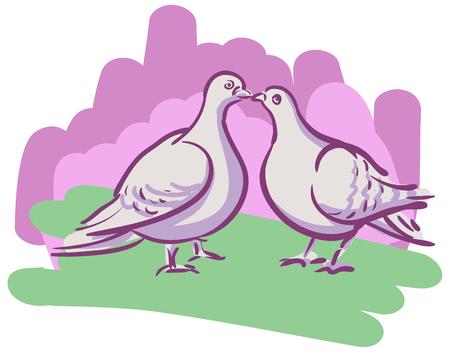 innamorati che si baciano: Coppie disegno vettoriale baciano colombe sullo sfondo delle pennellate