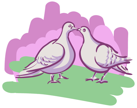 lovers kissing: Vector drawing couples kissing doves on the background of the brush strokes Illustration